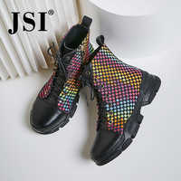 JSI invierno tobillo botas de mujer punta redonda colores mixtos Zip señoras zapatos de cuero genuino plano con hecho a mano básico botas de mujer jo337