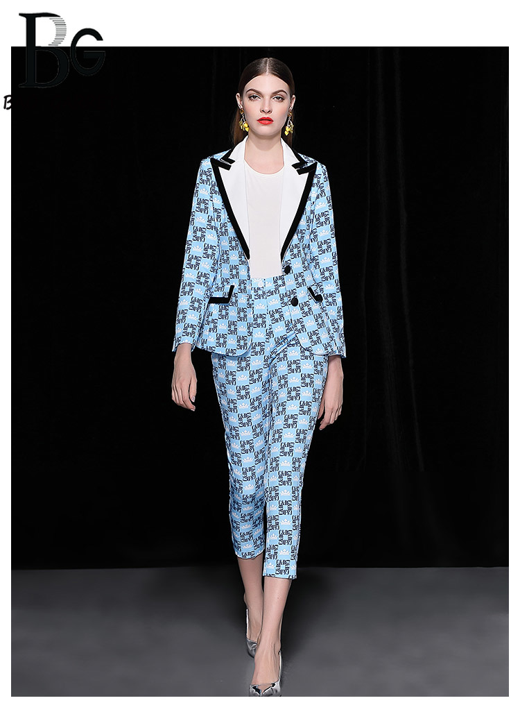 Baogarret Runway Autumn Winter Two Piece Set Womens Long Sleeve Blue Letter Printed Jackets + Ankle Length Pants Casual