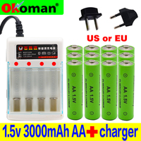 2019 New Tag 3000 MAH rechargeable battery AA 1.5 V Rechargeable For Clock Toys Flashlight Remote Control Camera battery+charger
