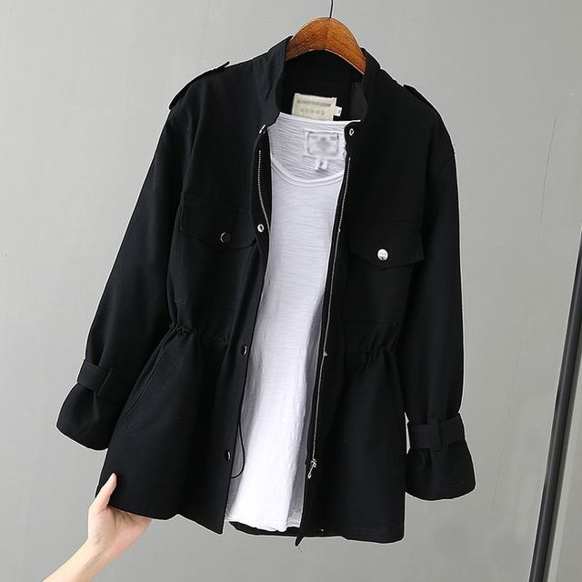 Autumn Peonfly Fashion 2021 Women's Casual Windbreaker Coat Stand Collar Overcoat Outerwear Coat Solid Color Lace Up Loose Coat 5