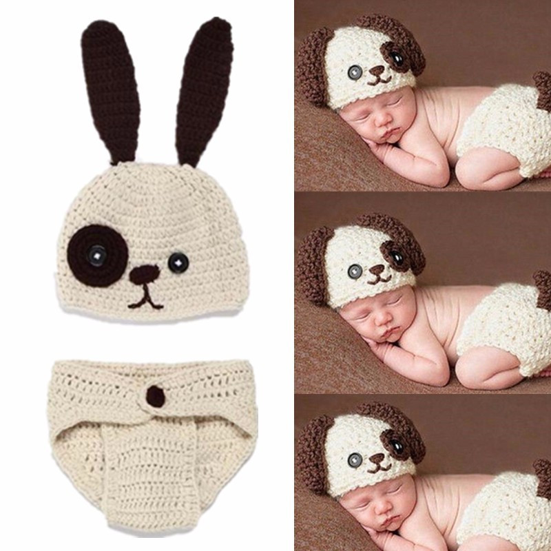 2Pcs/Set Newborn Photography Props Crochet Knit Baby Hat Cartoon Cute Dog Newborn Clothes Baby Boy Girls Fotografia Accessories