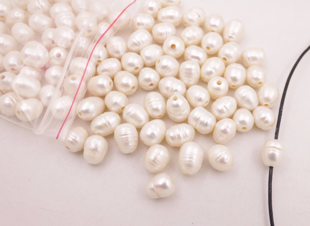 Купить с кэшбэком 100PCS Natural White Growth Pearl Loose Beads larger Hole Size : 2mm Jewelry Making