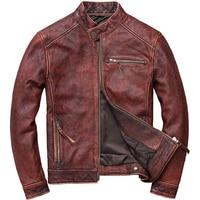 HARLEY DAMSON Vintage Brown Men Slim Fit Biker's Leather Jacket Plus Size XXXXXL Genuine Cowhide Autumn Motorcycle Leather Coat