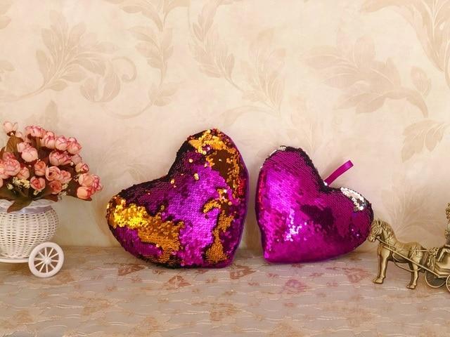 Flip Sequin heart 10-35cm Toys Soft Throw Pillow Glitter heart Stuffed Animals Sofa Cushion Creative Kids Toddler Gifts