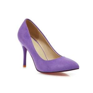 Image 4 - ZawsThia 10cm thin high heels purple blue woman sexy pumps shoes slip on women wedding stilettos ladies shoes big size 10 42 43
