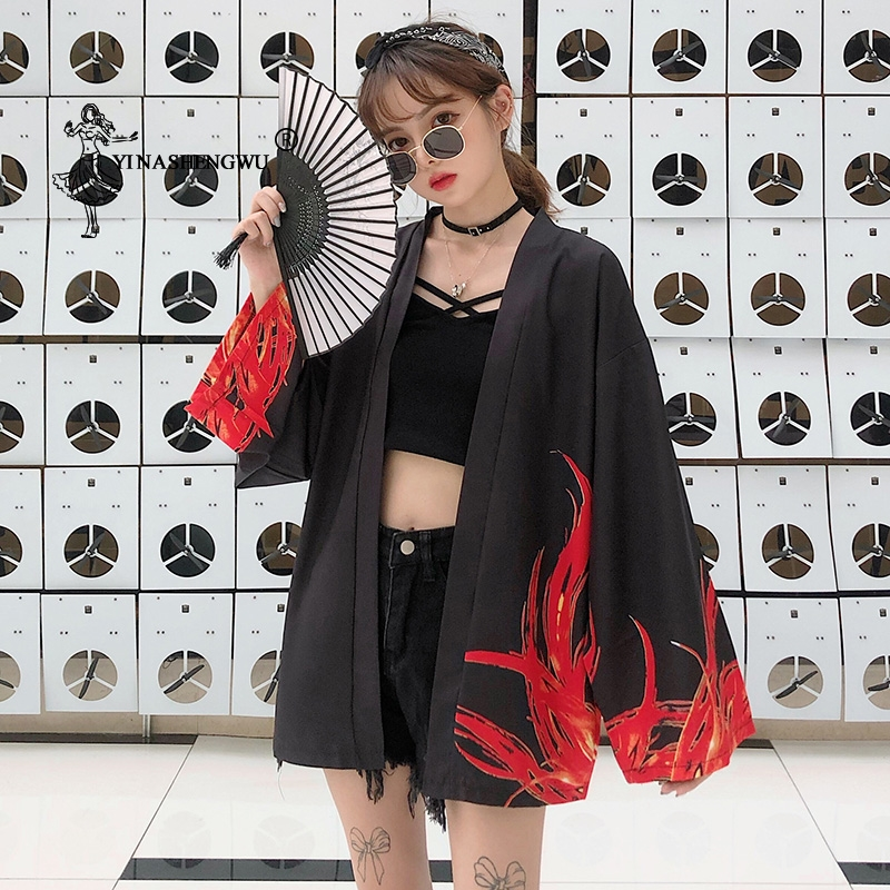 Yukata Frauen Japanischen Kimono Strickjacke Drachen Gedruckt Lange Hülse Hemd Casual Kimonos Femme Kawaii Asiatischen Kimono Cosplay Kostüme