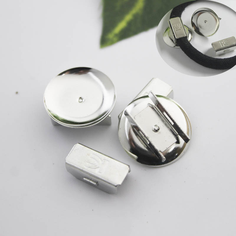 10set Hair Band Base Setting 18mm Cabochon Base Holder Fit Elastic Band Rope Hairpin For DIY Jewelry Making Findings Accessories