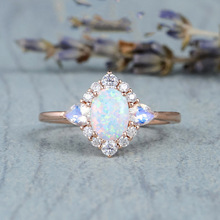 Opal Jewelry Rose-Gold-Rings Gemstone Women 14K for Fine-Bizuteria Bijoux Femme Anillos