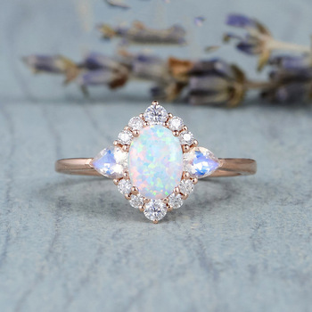 14K Rose Gold Natural Moonstone Gemstone for Women Fine Bizuteria Bijoux Femme Anillos Mujer Opal Jewelry Rings