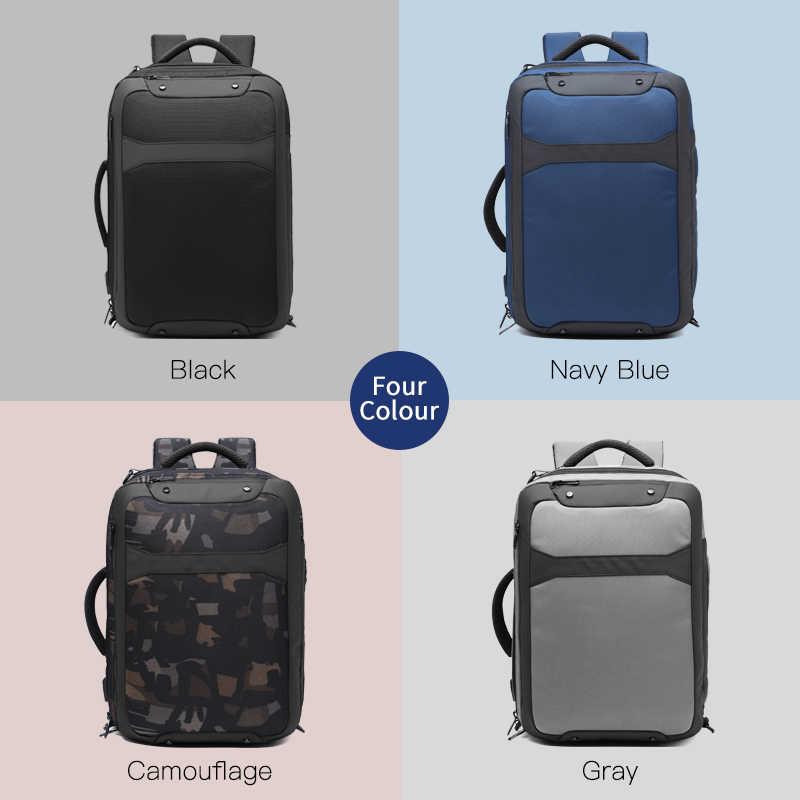 OZUKO Anti Theft erkekler 15.6 inç Laptop sırt çantası USB şarj su geçirmez sırt çantaları rahat erkek seyahat çantası büyük kapasiteli Mochila