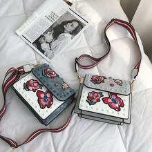 New embroidered shoulder bag female European and American flowers pu leather fashion small square tide diagonal womens