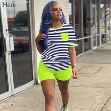 HAOYUAN Two Piece Set Summer Clother for Women Tracksuit Striped Top