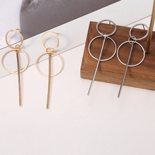 HOCOLE Vintage Long Metal Earrings For Women Geometric Round Gold Silver Hanging Drop Lady Fashion Jewelry 2019 Brincos