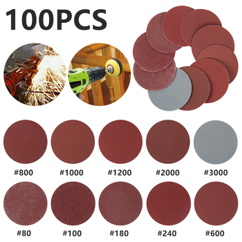100PCS/Set 2 Disc flocking sandpaper set-various specifications-small size high efficiency for iron plate, wood, plastic