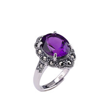 925 Sterling Thai Silver Colour Gemstone Amethyst Handmade Mosaic Craft Open Ring Women Fine Jewelry Luxury Trendy Ring Party