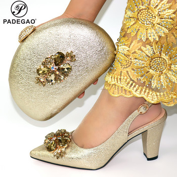 Hot Selling 2020 Autumn New Arrivals Royal Wedding Clutch Bag Match Italian Women Shoes and Bag Matching Set in Gold Color