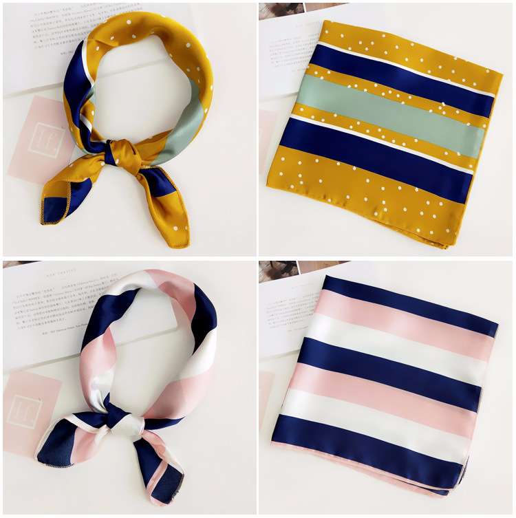 Ha95add340b2841bba0eb88eb94da91bfF - Square Scarf Hair Tie Band For Business Party Women Elegant Small Vintage Skinny Retro Head Neck Silk Satin Scarf