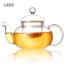 Tea-Pot Glass with Infuser Herbal Coffee High-End Gifts Flower Heat-Resistant