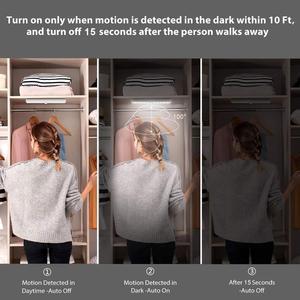 Image 2 - אלחוטי LED תחת קבינט אור PIR חיישן תנועת מנורת 6/10 נוריות עבור מלתחת ארון ארון מטבח תאורת Led לילה אור