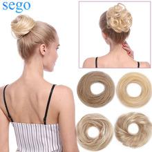 SEGO 23g 100% Human Hair Bun Scrunchies Updos Donut Chignon Hair Extensions Wrap Ponytail Remy Hairpiece Straight&Curly