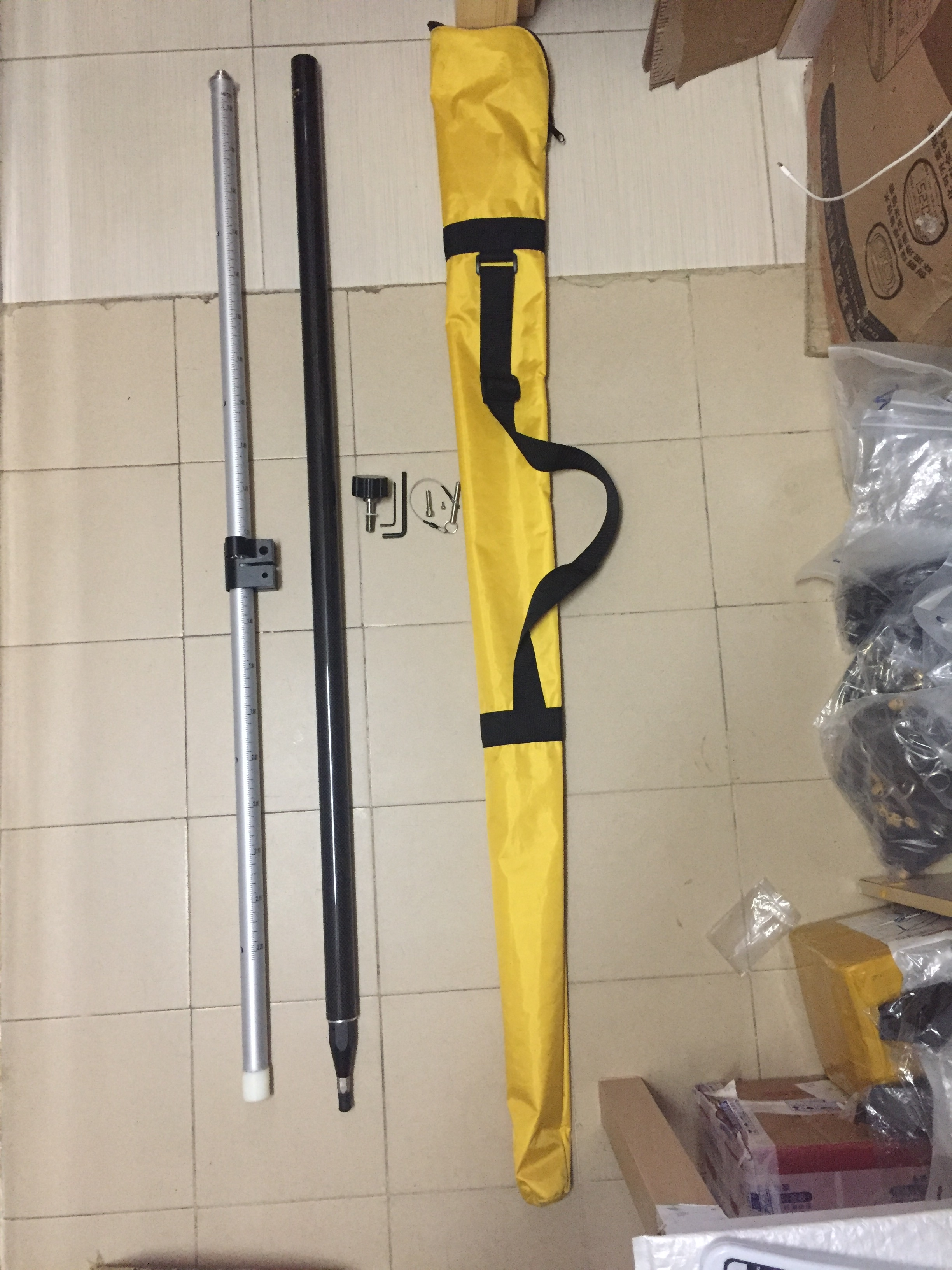 GPS Pole calibrated circular spirit level Telescopic Pull Carbon Fiber Pole Rod 5/8