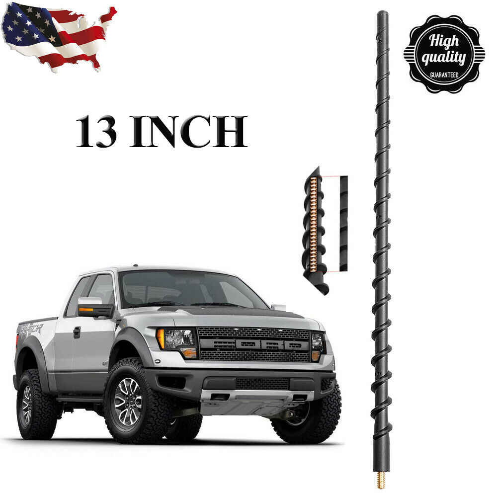 Stainless Steel Threading AntennaMastsRus - Spiral Wind Noise Cancellation 2009-2019 Spring Steel Construction 21 Black Antenna is Compatible with Ford F-150