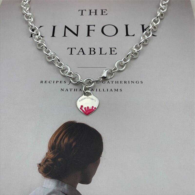 SHINETUNG S925 argent sterling rose eau fleur coeur pendentif clavicule collier, 1: 1 haut de gamme bijoux pour femmes avec logo.