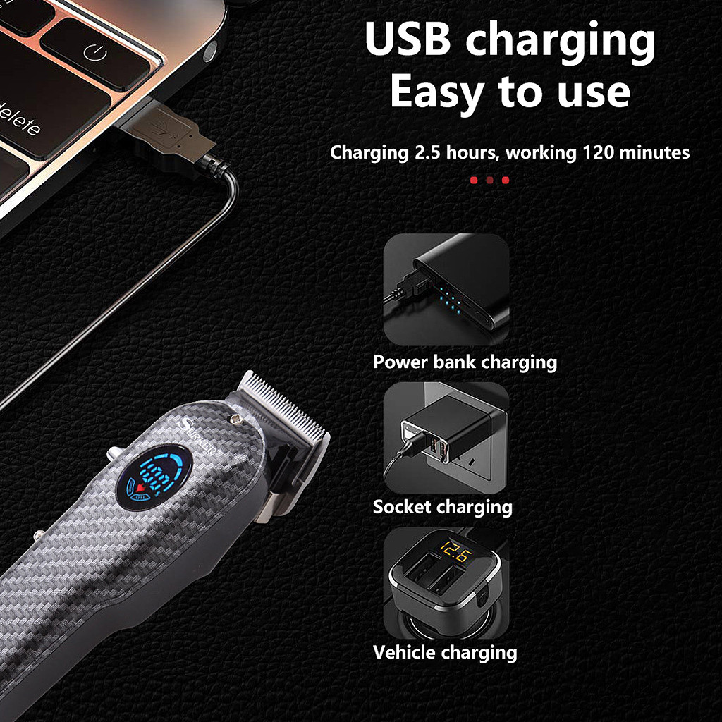 Electronics - Surker™ Professional Electric USB Rechargeable Barber Quality Best Wahl Alternative Hair and Beard Trimmer Clipper