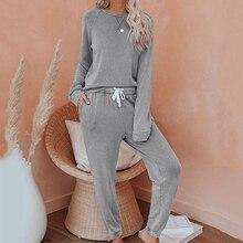 Long sleeve pyjamas women 2020 lounge wear loose indoor ladies sleepwear
