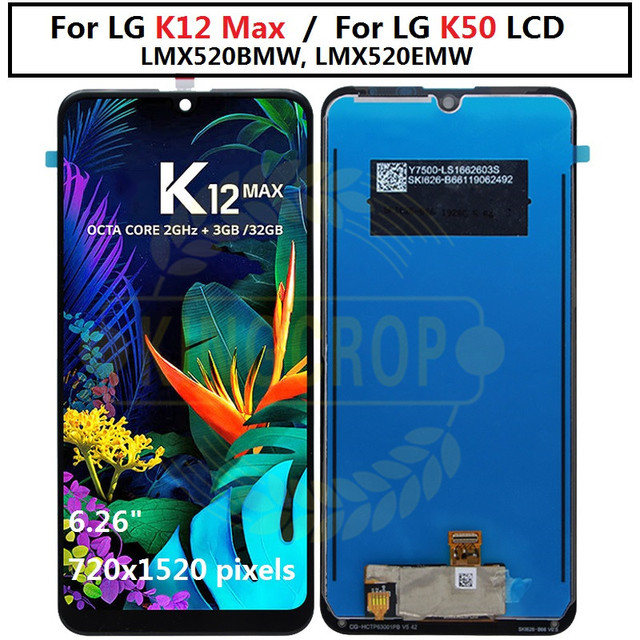 Für LG K12 Max LCD Screen Display LMX520BMW, LMX520EMW Digitizer mit rahmen Montage Handy Teile Für LG k50 Q60 lcd
