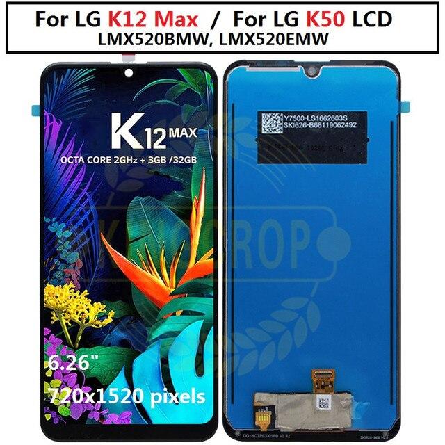 สำหรับLG K12 Maxหน้าจอLCD LMX520BMW, LMX520EMW Digitizer Frame Assemblyโทรศัพท์มือถือสำหรับLG K50 Q60 Lcd
