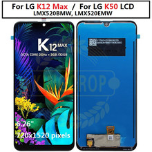 Para lg k12 max lcd screen display lmx520bmw, lmx520emw digitador com montagem do quadro peças de telefone móvel para lg k50 q60 lcd
