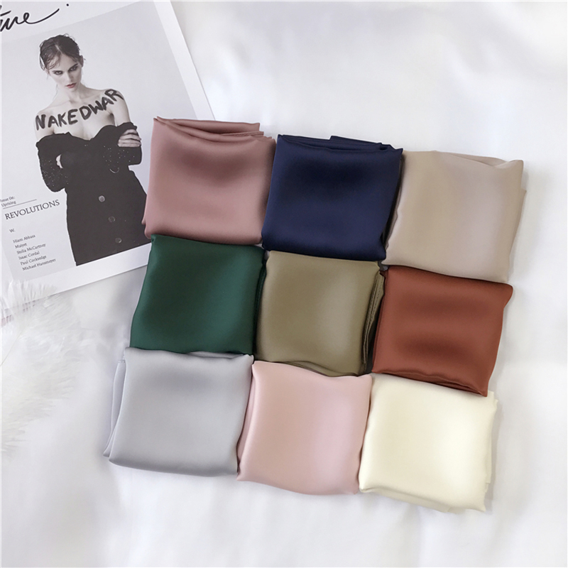 Luna&Dolphin Women Square Scarf 70*70cm Solid Color Print Small Scarf Chiffon Silk Hair Tie Headbands Bandana Bag Scarf Hijab
