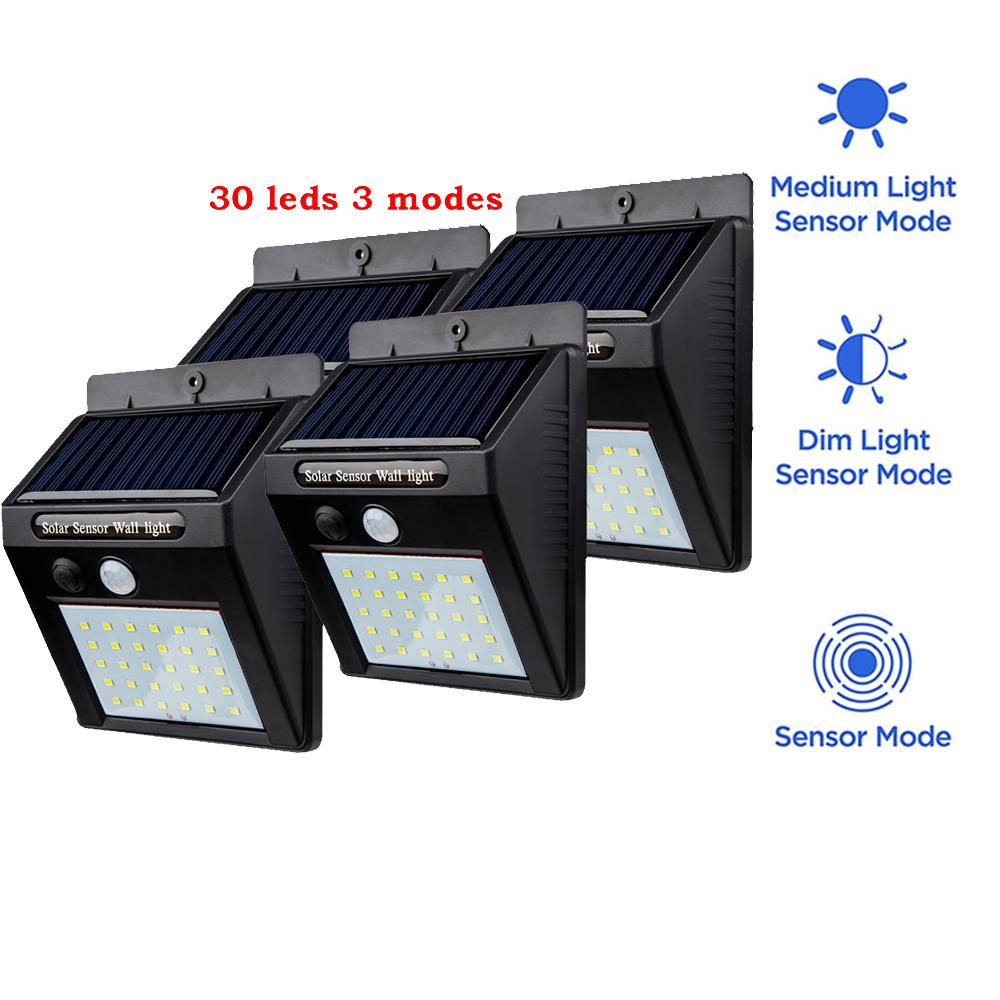 2/4PCS 30 LED Solar Light With Mounting Pole Outdoor Motion Sensor Detector Lamp Wall Sconces Lighting For Garden Wall Lamps Lig