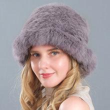 Зимняя горячая Распродажа теплая женская вязаная шапка с натуральным