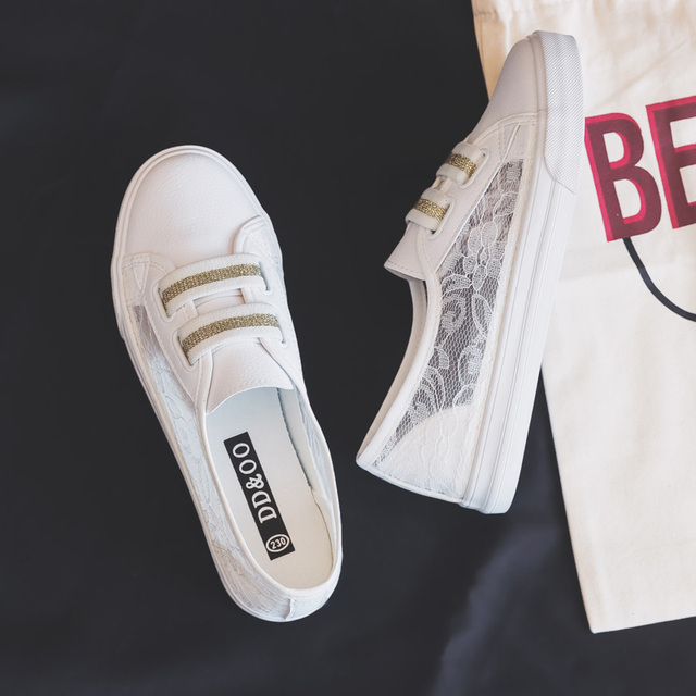أحذية امرأة 2019 صيف جديد أحذية أنيقة امرأة عادية تنفس الدانتيل الجلود بسيطة النساء حذاء كاجوال أحذية رياضية تنفس
