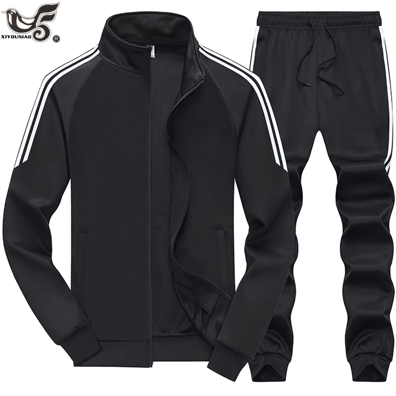 Autumn Winter Men`s Sportswear 2 Piece Sets Sports Suit Jacket+Pant Sweatsuit Male Tracksuit Outwear Basketball Sweatshirt Suit