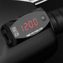 2-в-1 Напряжение тестер мотоцикла цифровой Дисплей светодиодный вольтметр мульти-Функция время IP67 Цифровой вольтметр Timemeter
