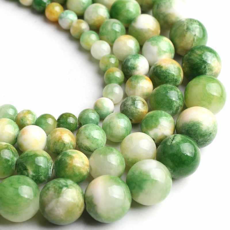 ขายส่ง 6 8 10 12 มม.สีเขียวธรรมชาติหยกสีเหลืองอัญมณีหินลูกปัดสำหรับเครื่องประดับ DIY สร้อยข้อมือสร้อยคอหลวม 15 นิ้ว