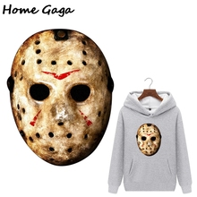 Homegaga Friday the 13th Jason Voorhees Heat Transfer stickers iron on patches Horror thermal transfer diy Unisex Patch D2525 friday the 13th character jason voorhees vinyl cute figure model doll toys