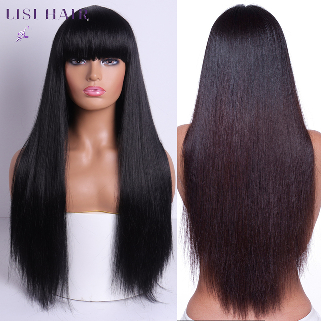 LISI HAIR Blonde Long Straight Wig With Bangs Synthetic Hair Wigs Bang With Wig For Woman Black Brown Heat Resistant Wigs 1