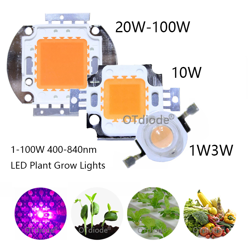 400nm-840nm Full Spectrum Grow Light 1W 3W 10W 20W 30W 50W 100W High Power LED COB Beads 45mil Bridgelux Chip For Plant Grow