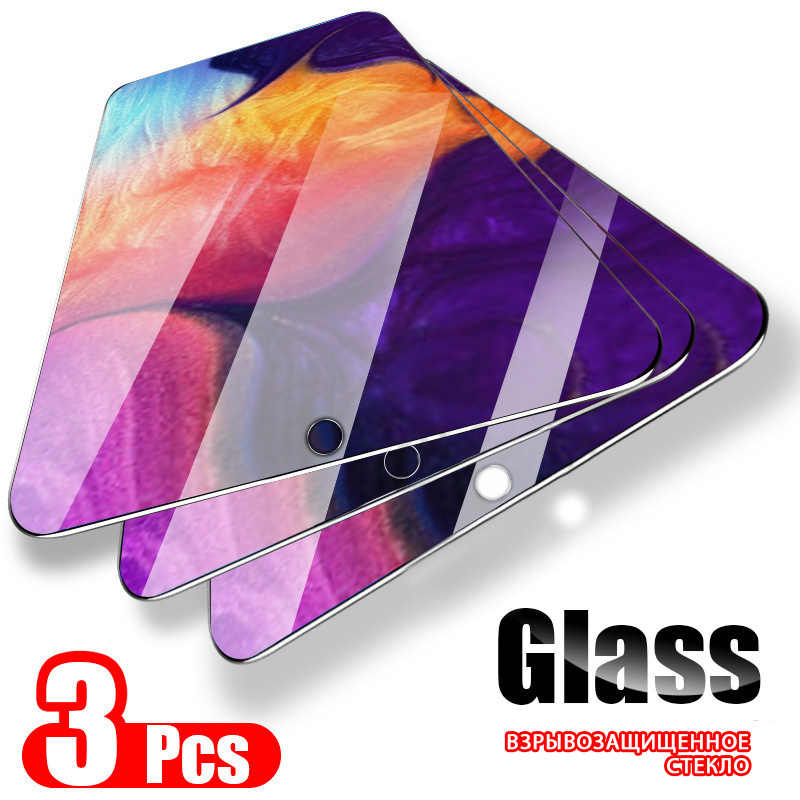 3PCS Protective Glass For Samsung Galaxy A50 A40 Tempered Glass on For Samsung A10 A20 A30 A70 A80 A60 A90 Screen Protector Film