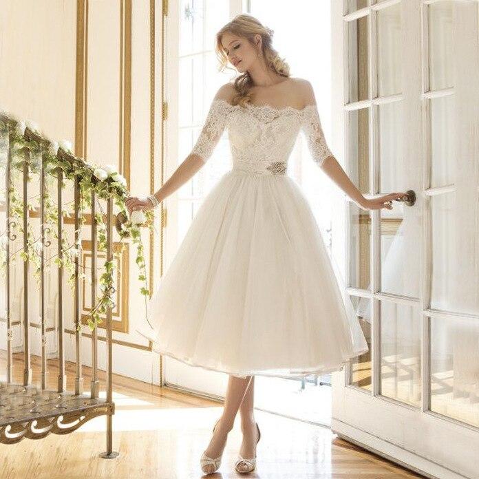 Новое поступление, белые кружевные свадебные платья с коротким бисером, а-силуэт, вырез лодочкой, длина до колена, кружевные свадебные