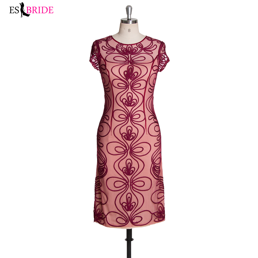 Fahione Short Sleeves Prom Dress Vintage Lace Red Formal Party Dress Knee-Length ESBRIDE