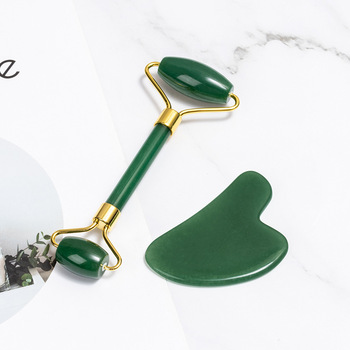 Beauty jade massage roller natural green Dongling powder crystal beauty container finger scraping board set