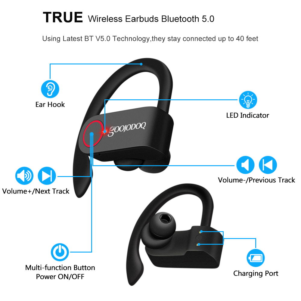 cheapest DDJ SOLO sports wireless headset bluetooth headset touch control waterproof sports office headset 12h battery life for Xiaomi