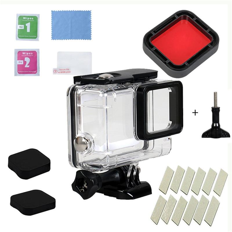Para GoPro HERO 7 6 5 Negro Carcasa Protectora Cubierta de Lente Film Protector de pantalla 2pc