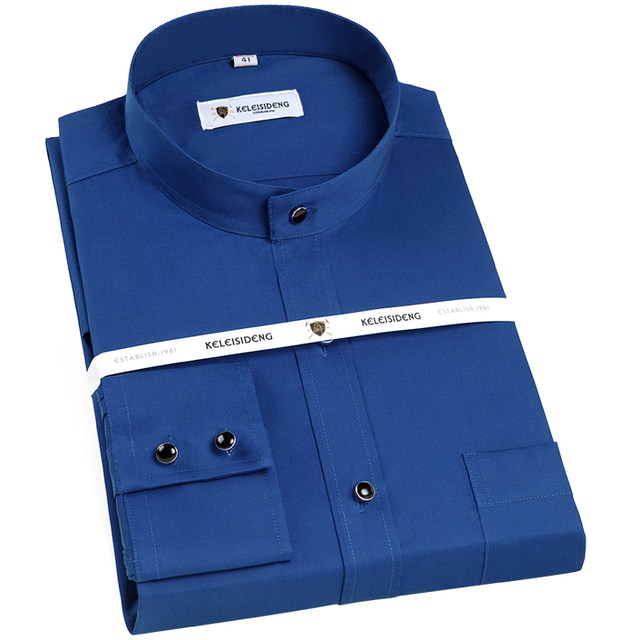 Banded Collar(Mandarin Collar) Solid Dress Shirts 6