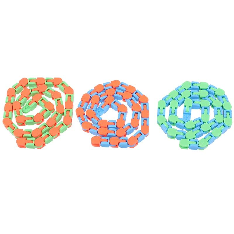 Sensory Toy Fidget-Toys Puzzles Autism Wacky Tracks Snap Kids Classic 1pc Click Snake img4
